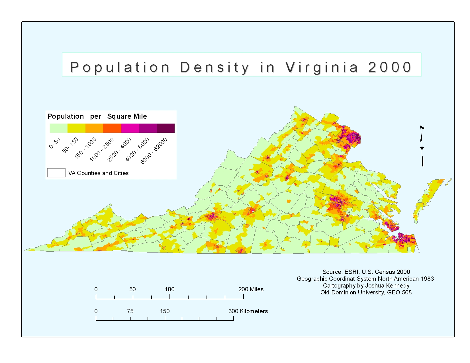 Population Density In Virginia